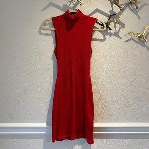 Reformation Red Turtle Neck Elegant Slim Dress